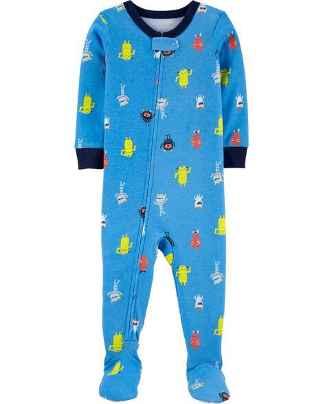 1-Piece Robot Snug Fit Cotton Footie PJs