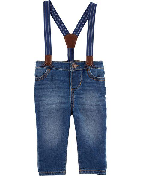 Jeans à bretelles - délavage derby