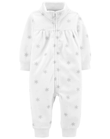 Polka Dot Zip-Up Fleece Jumpsuit
