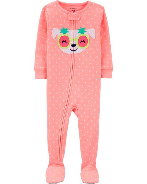 1-Piece Neon Dog Snug Fit Cotton Footie PJs