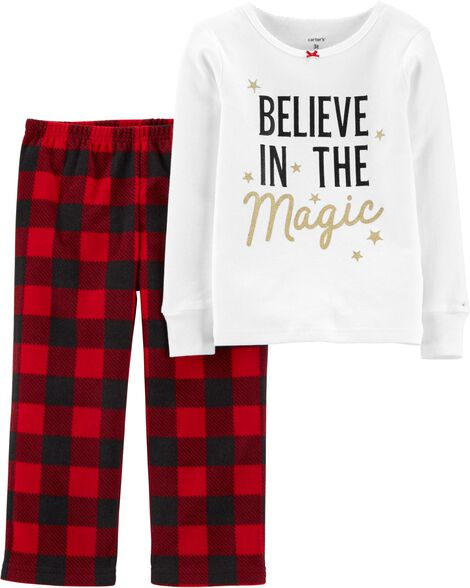 2-Piece Christmas Magic Snug Fit Cotton & Fleece PJs