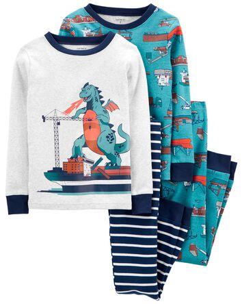 Pyjama 4 pièces en coton ajusté