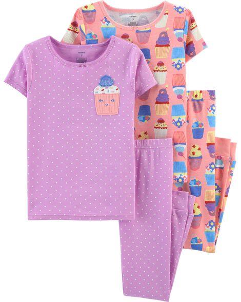 Pyjama 4 pièces en coton ajusté à petit gâteau