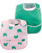 2-Pack Hearts & Frogs Water Resistant Bibs, , hi-res