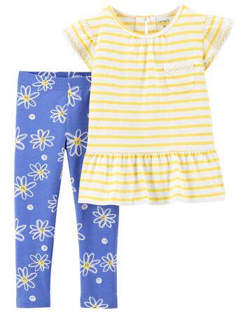 2-Piece Daisy Jersey Tee & Legging...