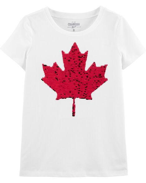 T-shirt à feuille d'érable Fête du Canada avec paillettes réversibles