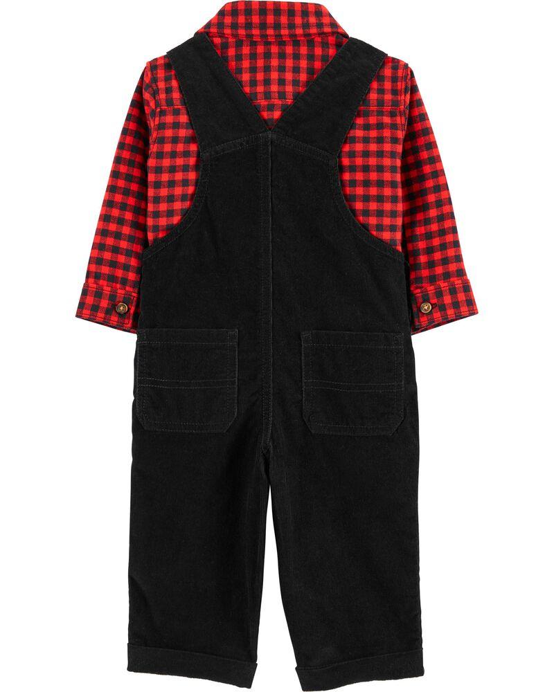 2-Piece Button-Front Shirt & Overalls Set, , hi-res