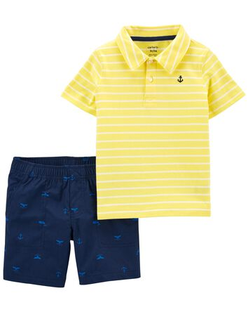 2-Piece Striped Jersey Polo & Short...