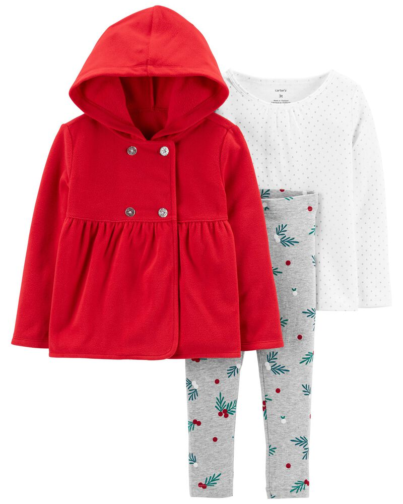 3-Piece Holiday Fleece Jacket Set, , hi-res