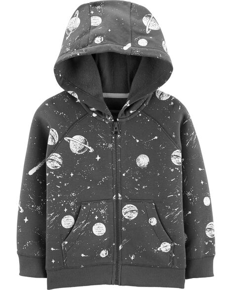 Space Zip-Up Fleece-Lined Hoodie