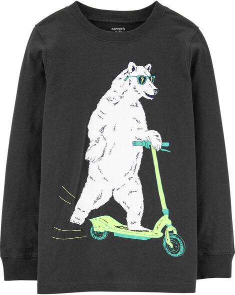 T-shirt en jersey à ours polaire sur trottinette