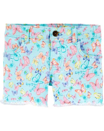 Butterfly Frayed Twill Shorts