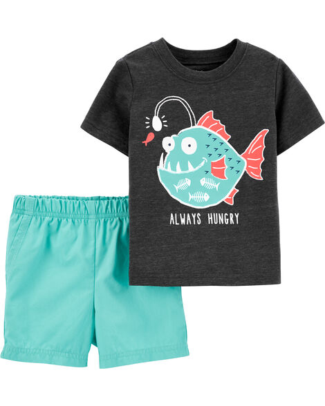 2-Piece Fish Snow Yarn Tee & Poplin Short Set