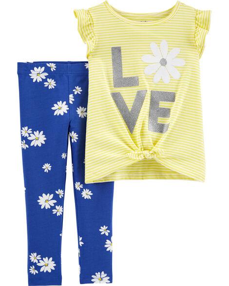 Ensemble 2 pièces t-shirt à nœud devant et manches volantées et legging fleuri