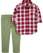 2-Piece Gingham Button-Front Shirt & Pant Set, , hi-res