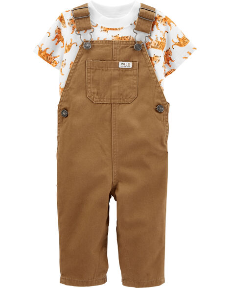 2-Piece Tiger Tee & Twill Overalls Set