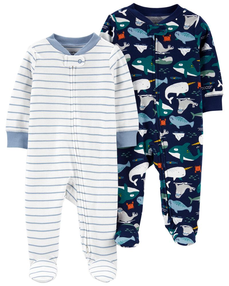 2-Pack Cotton Zip-Up Sleep & Plays, , hi-res