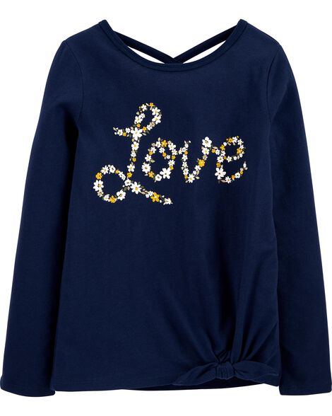 Floral Love Tie-Front Jersey Tee