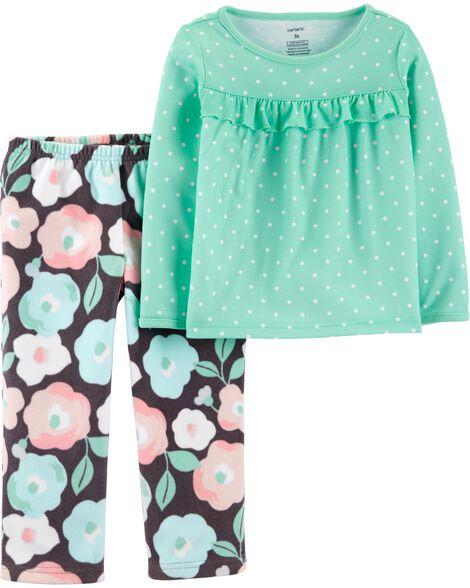 2-Piece Floral Fleece PJs