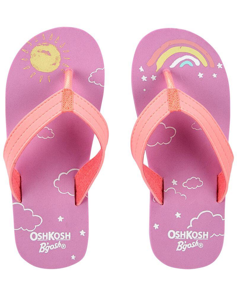 Sandales de plage avec soleils et arcs-en-ciel, , hi-res