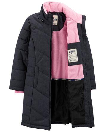 Long manteau matelassé à capuchon