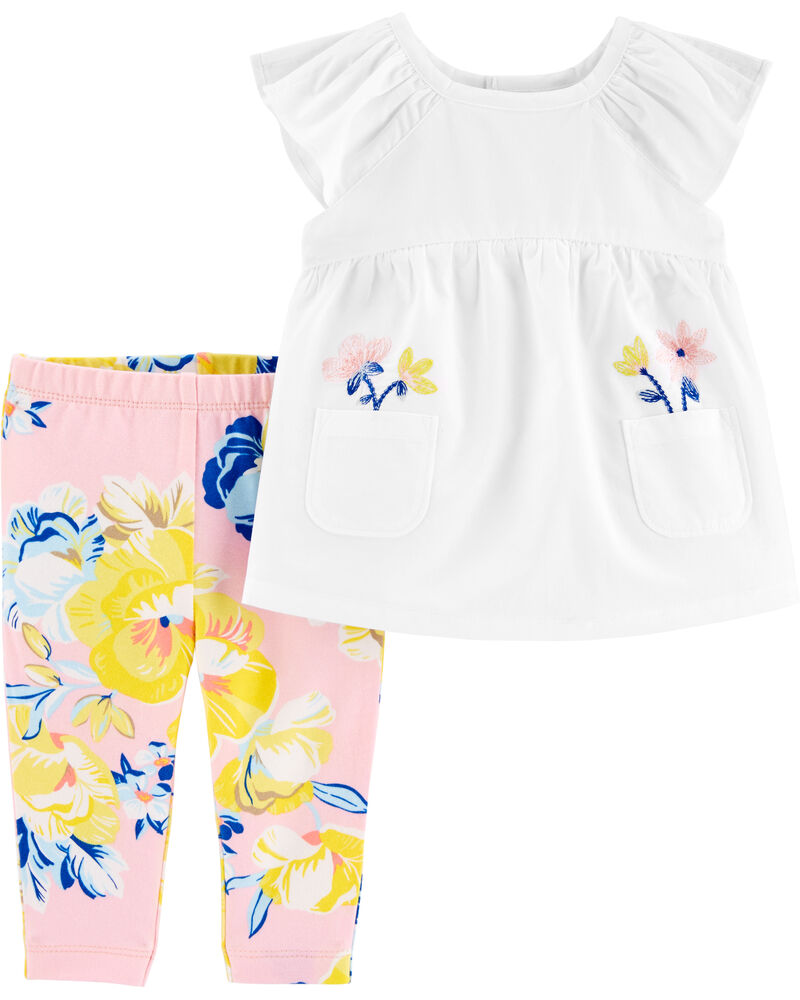 2-Piece Flutter Pocket Top & Floral Legging Set, , hi-res
