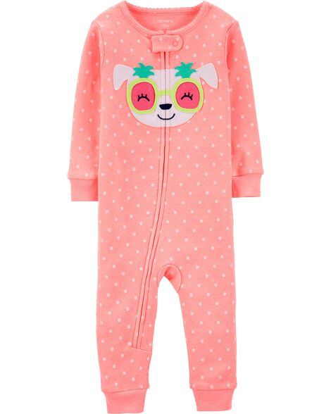 1-Piece Neon Dog Snug Fit Cotton Footless PJs