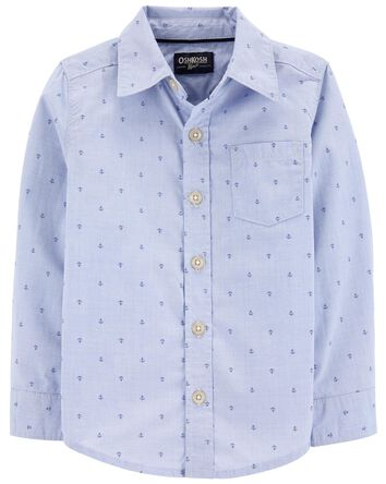 Anchor Print Button-Front Shirt