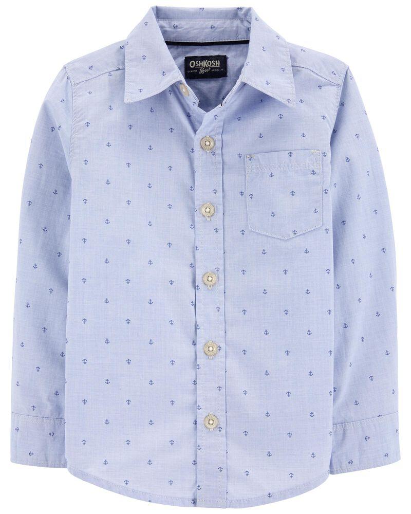 Chemise boutonnée à motif d'ancres, , hi-res