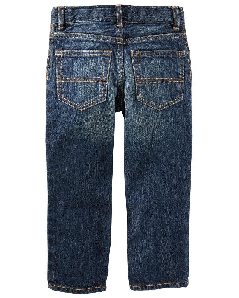 Jeans droit - délavage authentique, , hi-res