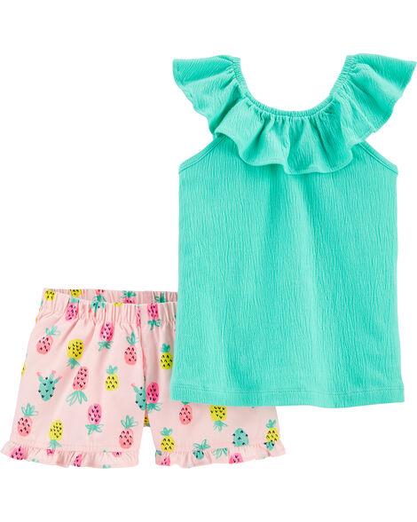 2-Piece Flutter Jersey Tee & Pineapple Short Set