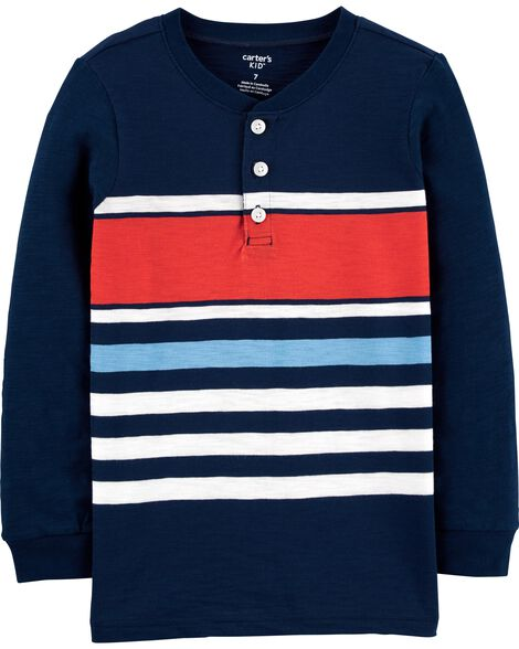 Striped Slub Henley