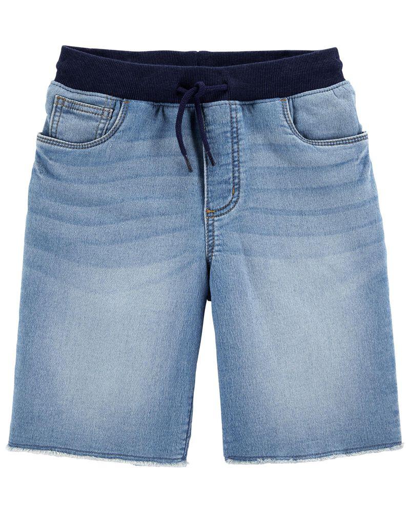 Pull-On Knit Denim Shorts, , hi-res