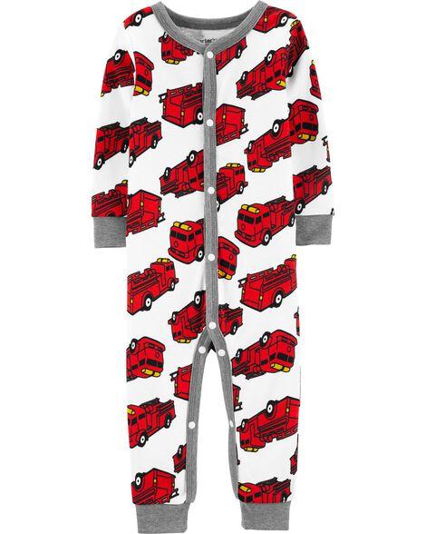 Pyjama 1 pièce sans pieds en coton ajusté à camion d'incendie