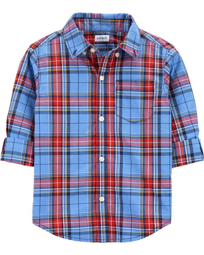 Plaid Twill Button-Front Shirt, , hi-res
