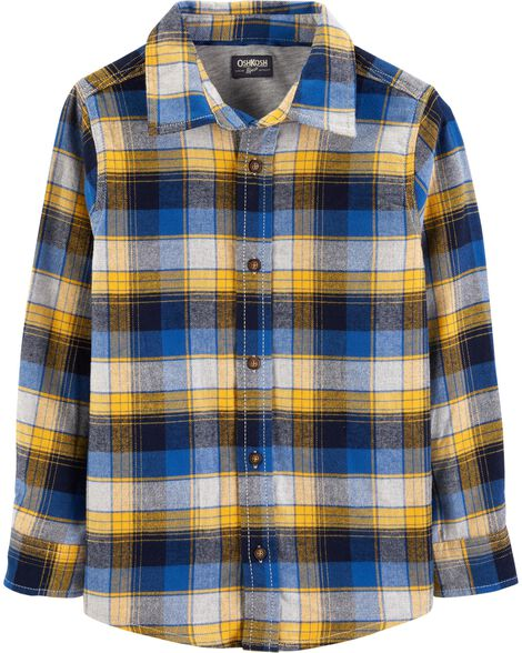 Button-Front Twill Flannel Shirt