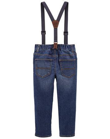 Slim Fit Knit Denim Suspender Pants