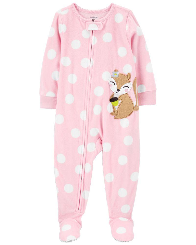 Pyjama 1 pièce avec pieds en molleton avec écureuil, , hi-res