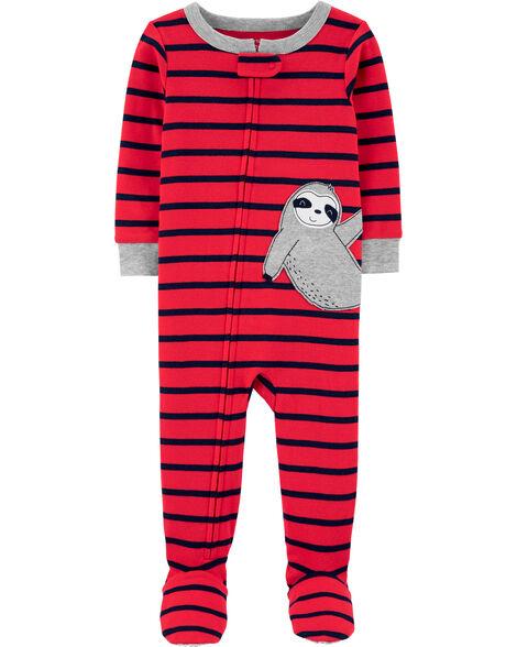 1-Piece Sloth Snug Fit Cotton Footie PJs