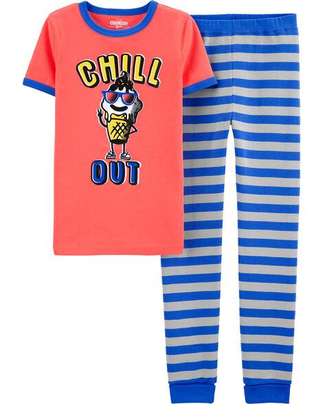 Pyjama 1 pièce en coton ajusté motif crème glacée