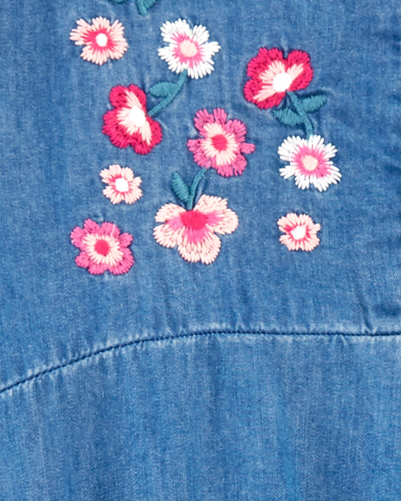 Robe en denim fleuri brodé, , hi-res