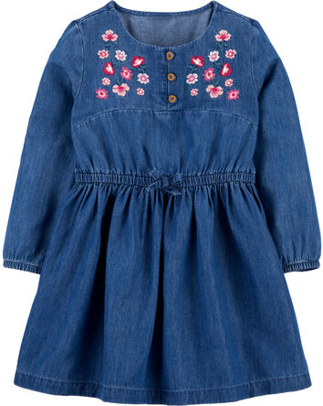 Robe en denim brodé