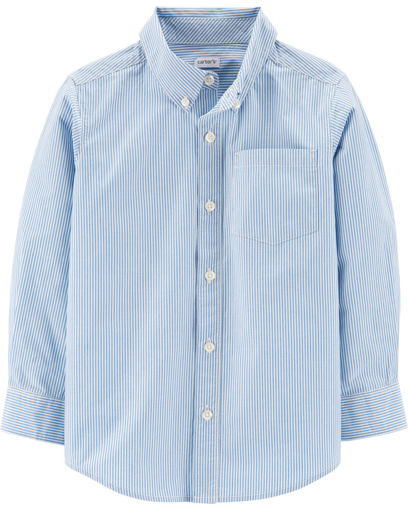 Striped Button-Front Poplin Shirt, , hi-res