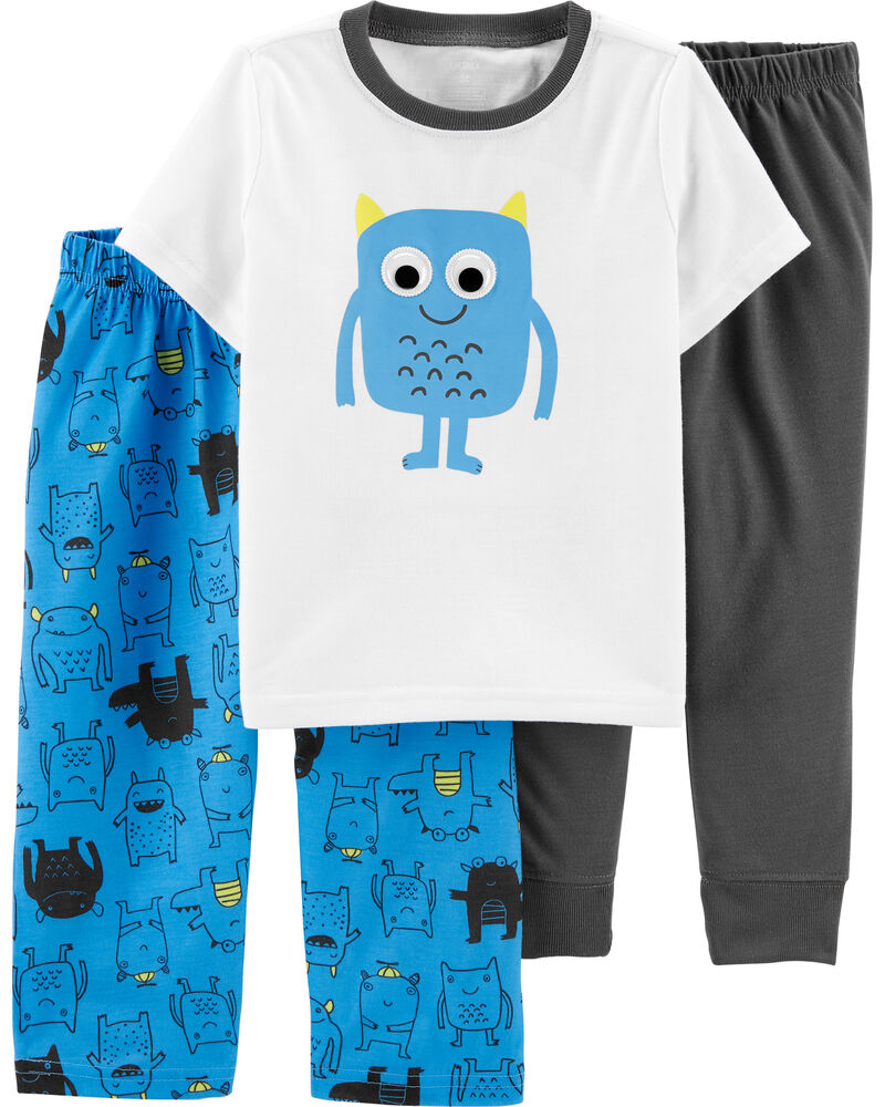 3-Piece Monster Poly PJs, , hi-res