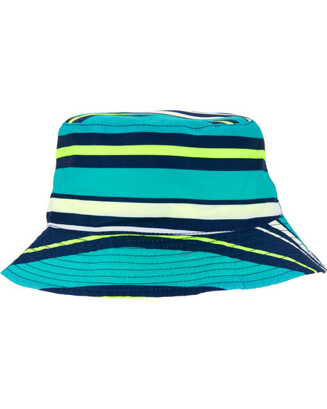 Reversible Striped Neon Bucket Hat