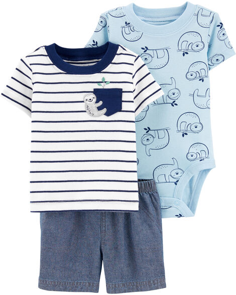 3-Piece Sloth Little Short Set