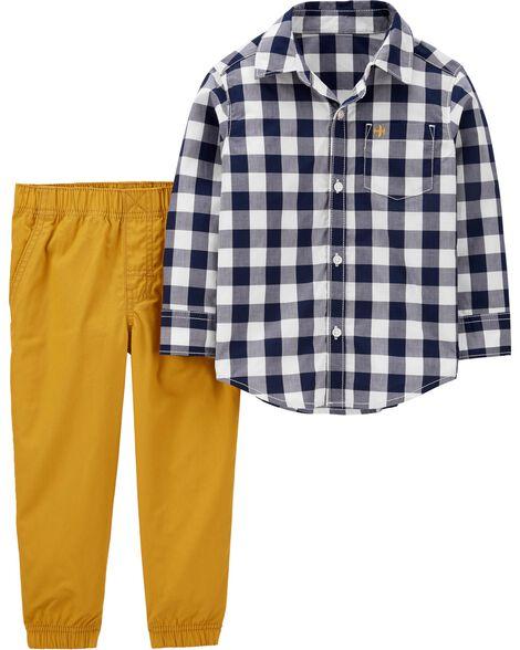 Ensemble 2 pièces chemise boutonnée à motif vichy et pantalon en popeline