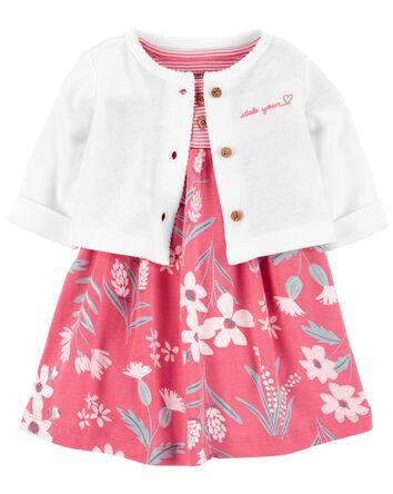 2-Piece Bodysuit Dress & Cardigan S...
