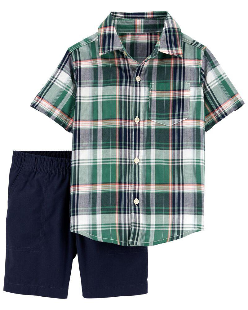Ensemble 2 pièces chemise à motif écossais et short, , hi-res