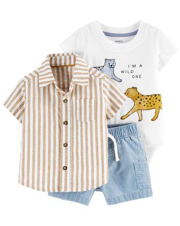3-Piece Tiger Little Short Set